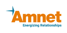 The logo of Amnet with the tag line, Energizing Relationship. A forward arrow flows from the left.