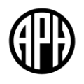 The logo of American Printing House for Blind. A P H, in uppercase.