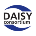 A logo of the Digital Accessible Information System Consortium. D A I S Y, in uppercase followed by Consortium, below.