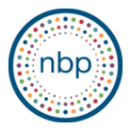 The logo of the national braille press. n b p, in lowercase.
